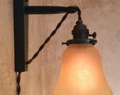 Hanging Pendant Wall Sconce. Retro Edison Lamp. Plug in sconce.