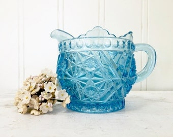 VINTAGE Blue Pressed Glass Creamer - Stars