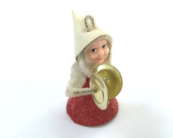 VINTAGE GNOME Figure - Christmas Elf - Plastic Face - Red Glitter - Holding Cymballs - Instrument