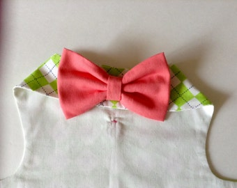 Harness Vest for Small Dog - Lime and White Argyle Pinwale Corduroy, with Coral Bow Tie Detachable for Laundering, Custom to Fit Yorkie Size