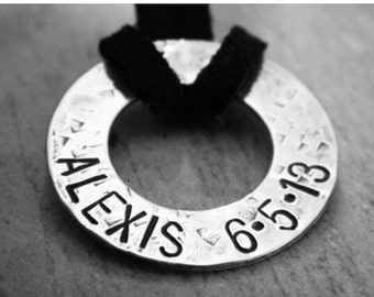Personalized Mens Necklace, Sterling Silver Washer Necklace, Fathers Day gift, Dad name necklace, Rustic, Hammered, Custom Mens Necklace