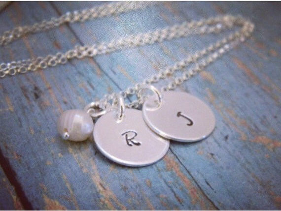 Personalized Initial Necklace, 2 initials, Custom Initial necklace, Solid Sterling Silver, Two Initials Mommy Necklace, Mother of 2 necklace