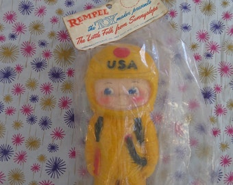 Edward Mobley, astronaut doll, Rempel, The Little Folk from Sunnyslope, in original packaging, rubber squeak toy