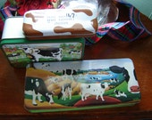 Vintage cow tins kitchen decor cow decor 3 pc set kitchen storage tins decorative tins collectible cow tins