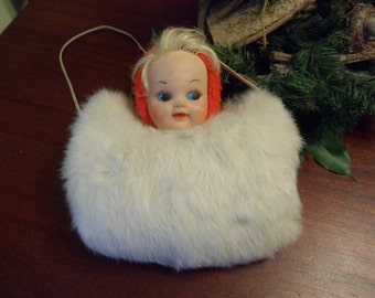 Rabbit Fur Girls Hand Muff With Doll Head   (T)