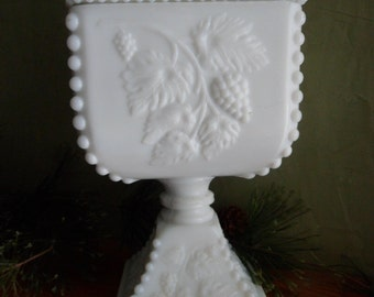 White Milk Glass Weatmoreland Grapes & Bramble Leaf Pattern Covered Candy Bowl On A Pedestal