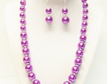 Deep Violet Glass Pearl w/Crystal Seed Bead Necklace & Earrings Set