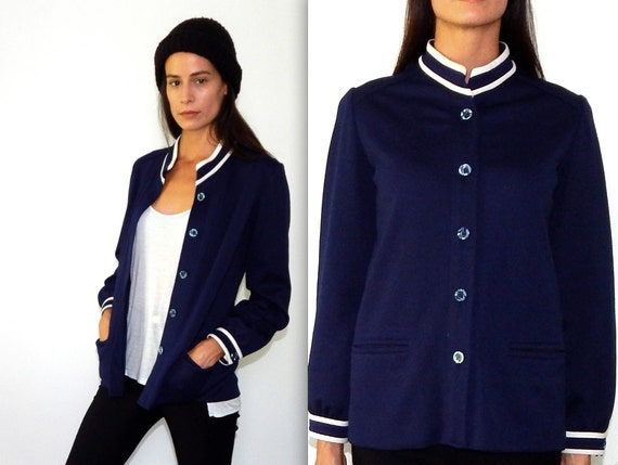 Vintage Nautical Jacket - 1970's Leisure Suit - Navy Jacket with White Piping - Steamboat Captain