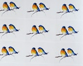 Two Birds Planner Stickers, Romantic Birds Mini Stickers Cute Bluebirds for Journal Organizer Cards 24 Sticker Sheet