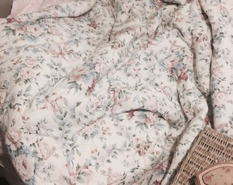 Omg stunning vintage pale pastel pink cabbage rose ribbons boutis quilt comforter eiderdown shabby french nordic chic