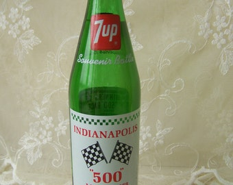Vintage Indianapolis 500 7up Bottle May 28, 1978.Vintage Indiana Collectible.Winners of 500 Race.Indy 500 Collectible.Car Racing Bottle.7 up