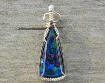 Small Wire Wrapped Pendant, Azurite Malachite Wire Wrap Pendant, Sterling Silver Pendant, Azurite Jewelry