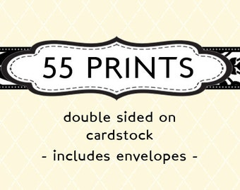 55 Professionally Printed Cards & Envelopes- A7 (5x7), A2 (4.25 x 5.5), or 5x5 (Square)