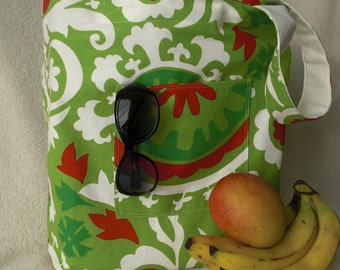 Simple handmade shopping bag - large tote bag - Red and Green Garden
