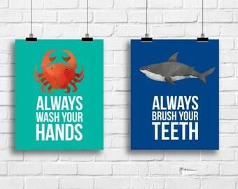 Kids bathroom rules decor, shark crab bathroom art prints, kids bathroom posters, always wash your hands art, brush your teeth, G-2020