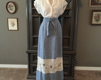 70s Chambray w/ Lace Inset Summer Skirt