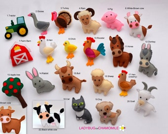 FARM ANIMALS felt magnets - Price per 1 item - make your own set - Hen,Sheep,Cow,Bull,Horse,Donkey,Goat,Turkey,Rooster,Dog,Cat,Pig,Ram,Chick