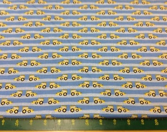 Construction Diggers Bulldozers Rows 100% Cotton Fat Quarters Fabric Material