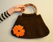 Crochet Brown Large Handbag with Flower Clips and Bamboo Handles