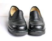 us7 STRADA italian loafers black leather 90s