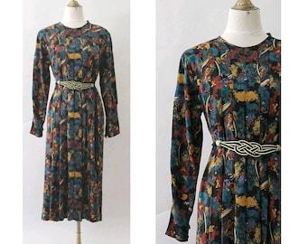 Dans les bois 1980 printed Dress Phoebus Paris medium  back buttoned