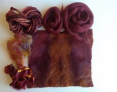 Hand dyed Wool for Felting and Craft projects, Pre-felted Wool sheet and Pencil Wool roving, Silk Hankie and ribbon