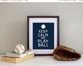 ONSALE Baseball Decor - Print Keep Calm and Play Ball - Customize Colors - Baseball Nusrery