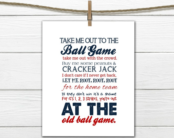 Take Me Out to the Ballgame  - Baseball Decor - INSTANT Download PDF 8x10