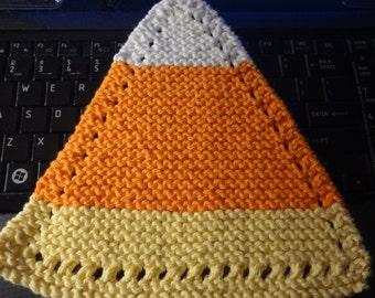 "Hand Knit Dish Cloth - Mix-N-Match - Cotton - Medium 8"" Triangle - Candy Corn Dish Cloth - White, Orange, Yellow"