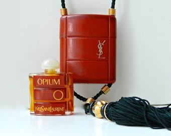 Vintage OPIUM Pure Perfume Necklace Inro YSL Yves Saint Laurent 1/8 oz Full Fresh