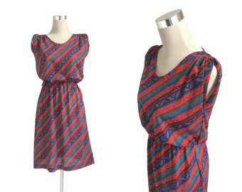 Vintage Dress 70s 80s - Red Navy And Turquoise - New Wave Stripe Slip On Dress