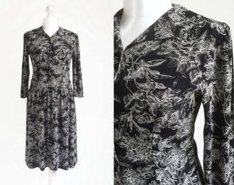 Black Print Dress - Vintage Dress - 80s 90s - Floral Midi Dress