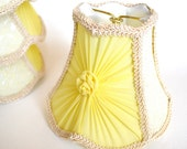 Vintage Chandelier Lamp Shades, Buttery Yellow Chiffon Rayon Trim, White Interior, Set of Four