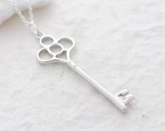 Silver key necklace, Tiffany key necklace. Bridesmaid Necklace, Key Necklace, Bridesmaid Gift Idea, Skeleton Key Necklace,