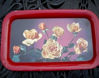 SPRING SALE--Vintage Tin Trays with Roses, Three Available, Selling Individually