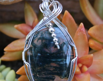 Plume Moss Agate Stone Pendant Sterling Silver Wire Wrapped Handmade Jewelry Green Stone Necklace Free Shipping USA