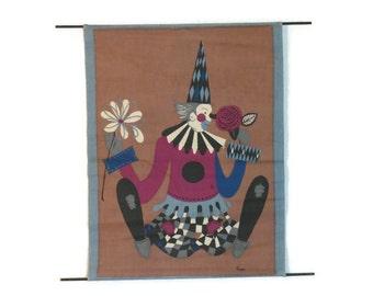 Clown Wall Art - Cloth Clown Print - Clown Silk Screen - 1970s Wall Art - Retro Clown - Free Shipping - 3PTT16
