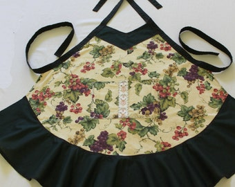 Green Floral Apron with Ribbon Accent