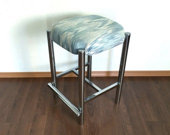 vintage mid century modern chrome barstool with chevron upholstery. retro furniture.