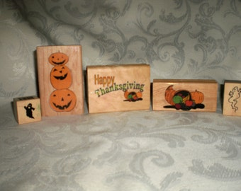 Set of 5 New Autumn Rubber Stamp Set