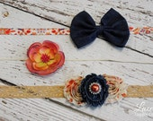 DIY Headband Kit - Fall Country Chic - SALE!!  Makes 3 Headbands!! Autumn, Shabby Chic, Fall, Floral, Orange, Denim, Coral, Tan