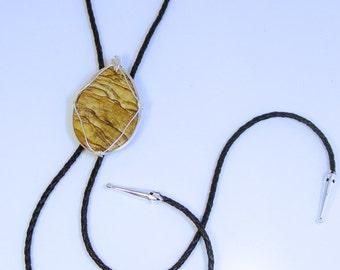BOLO Tie - Silver Wrapped PICTURE JASPER