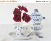 On Sale Antique Blue Onion Creamer, Tea Party, Wedding, Housewarming Gift Inspired, French Country, Blue Delft China, Tea Serving