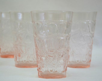 Fostoria Drink Glasses, Pink Karnak Cobble Stone Pattern Tumbler High Ball Set of 5