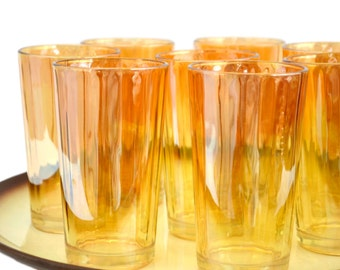 Marigold Peach Luster Drink Glasses/Tumblers