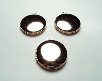3 pcs - 20mm  Gold plated round Lockets - m267hg
