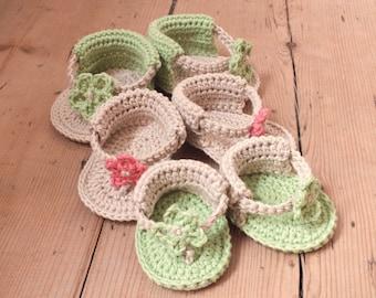 Baby Flower Sandals - Instant Download PDF Crochet Pattern