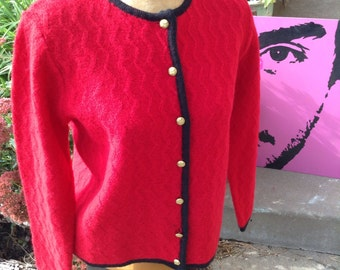 Vintage hipster Karen Scott red wool cardigan sweater with gold buttons size small free domestic shipping