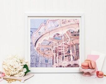 Paris carousel print - Paris nursery decor - Paris merry-go-round print