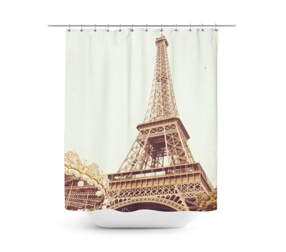 Items similar to paris eiffel tower shower curtain for Eiffel tower bathroom accessories